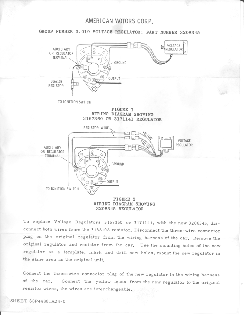 1967 Rambler American Wiring Diagram Ford Alternator And Regulator Id Connectors The Amc Forum Rh Theamcforum Com Mustang