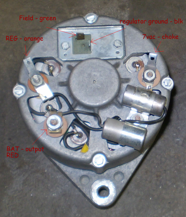 above is a typical motorola alternator used after 1970 71 through 1975 showing connections used